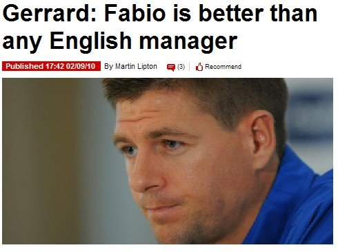 杰拉德力挺卡佩罗:他可秒杀英格兰本土教练