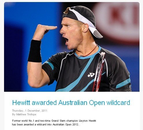 休伊特获得2012澳网外卡 将连续15年本土作战