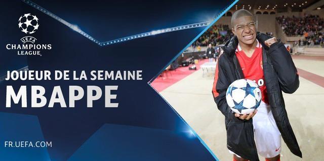 提前预定金童?姆巴佩荣膺本周欧冠最佳球员