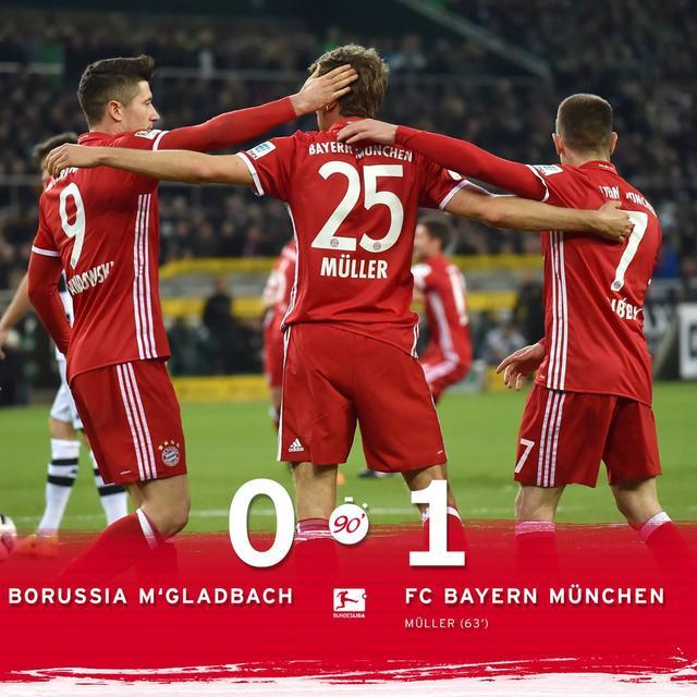 德甲-拜仁1-0门兴13分领跑 穆勒破门锁定胜局