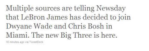 曝詹姆斯已做出决定 加盟热火新三巨头组建?