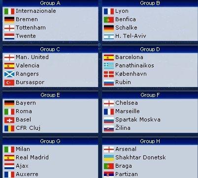 欧冠32强分组一览