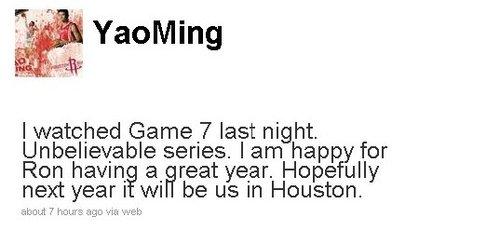 姚明微博祝贺阿泰斯特 盼下个赛季属于休斯敦
