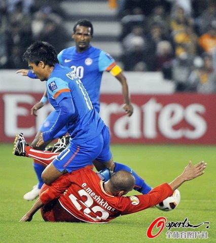亚洲杯-10人巴林5-2印度 悍将大四喜功臣染红