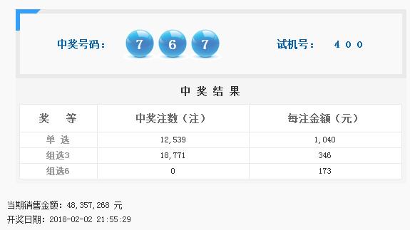 福彩3D第2018033期开奖公告:开奖号码767
