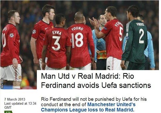 欧足联宣布不处罚费迪南德 曼联铁卫逃过一劫