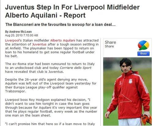 阿奎拉尼被利物浦兜售 尤文图斯报价揽回天才