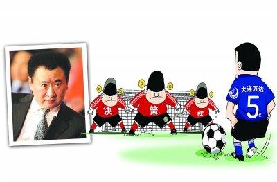 漫画体坛:王健林任意球挑战决策人墙
