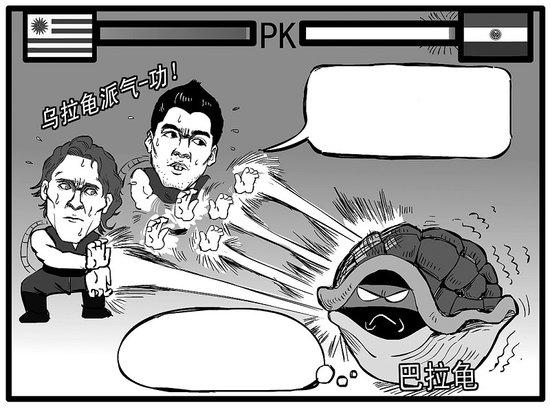 """漫画体坛:乌拉圭打巴拉""""龟"""""""