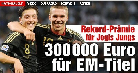 德国队公布战荷兰名单 欧锦赛最高每人奖30万