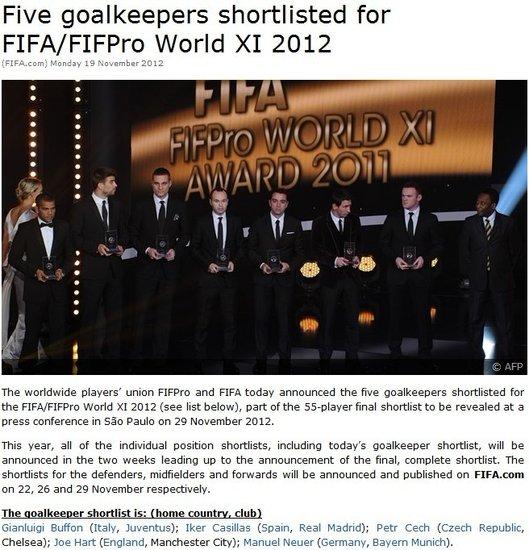 FIFA公布年度佳门将候选 卡西望蝉联布冯归来