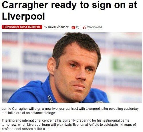 利物浦14载功勋将续约两年 称永久退出英格兰