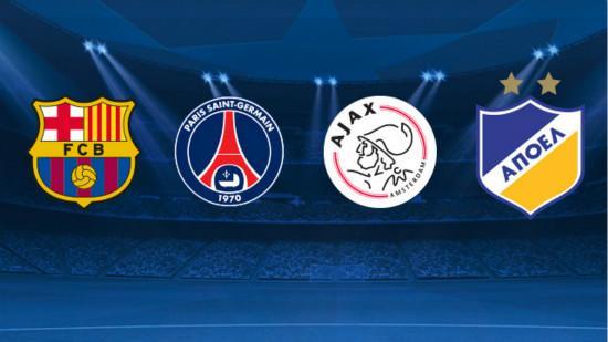 欧冠抽签:巴萨遇巴黎阿贾克斯和希腊人竞技