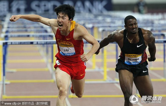 刘翔:满意这个成绩 奥利弗:我输给更强对手