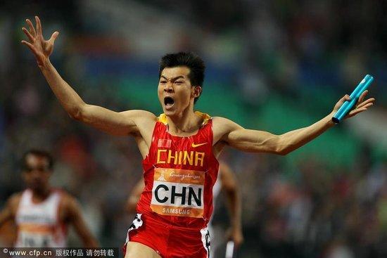 男4×100米接力-中国破纪录夺冠 20年后再问鼎