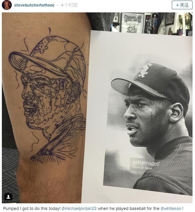 球迷将乔老爷纹在身上 不是哭脸竟是打棒球时