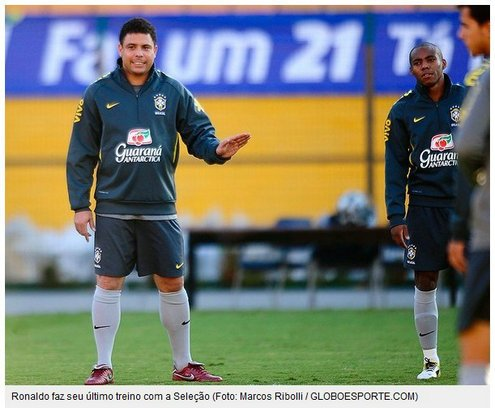 罗纳尔多巴西队内训练进两球 告别赛无缘首发