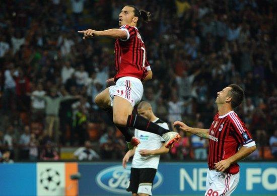 欧冠-米兰2-0胜比尔森 伊布传射卡萨诺创纪录