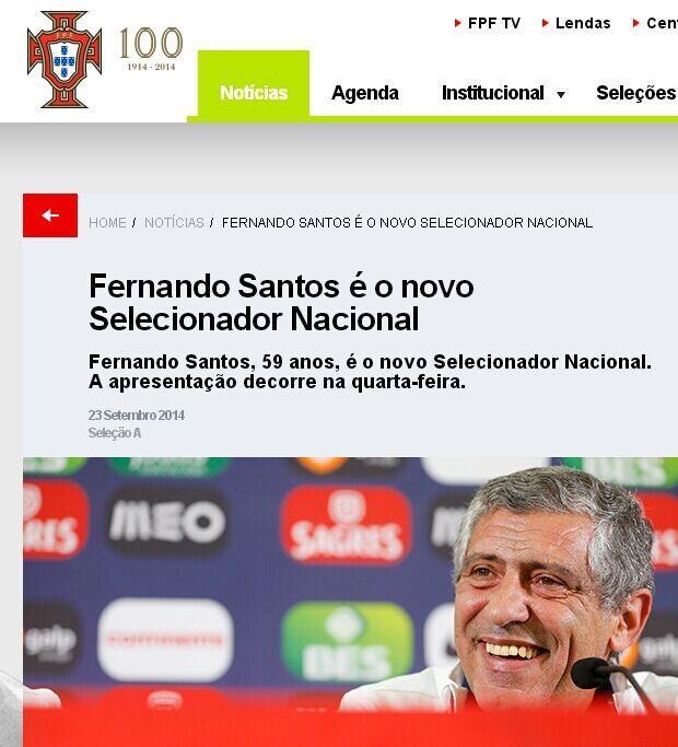 葡萄牙足协宣布新帅 前希腊主教练桑托斯上任