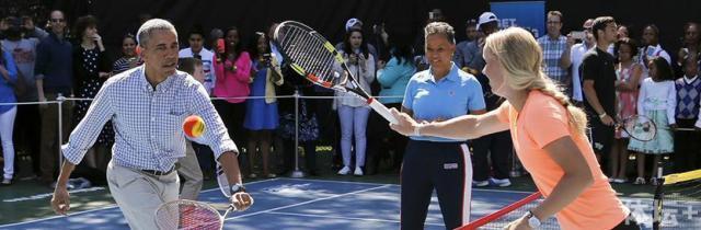 法国新总统马克龙是网球迷 这些领导人爱网球