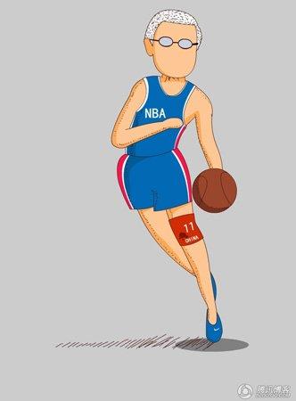漫画:姚明退役好比NBA中国市场韧带撕裂