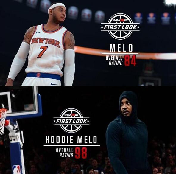 2K官方调侃安东尼:穿连帽衫能力值NBA第一