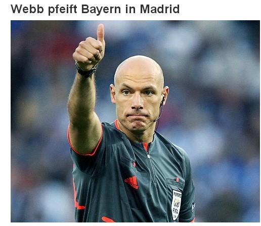 欧足联公布半决赛主裁判 韦伯将执法重磅对决