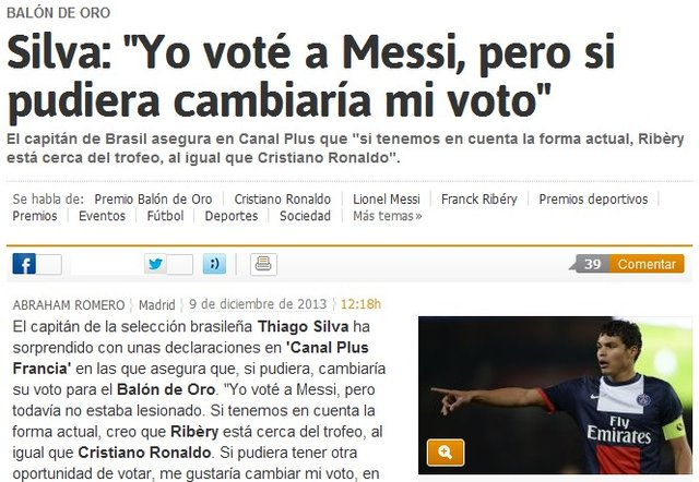 巴西队长:后悔金球奖投梅西 里贝里更有资格
