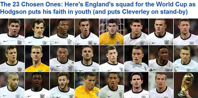 英格兰世界杯23人大名单:鲁尼领衔 小将当道