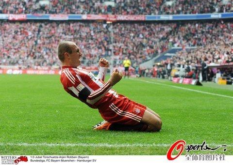 德甲-拜仁6-0汉堡 罗本帽子里贝里穆勒破门