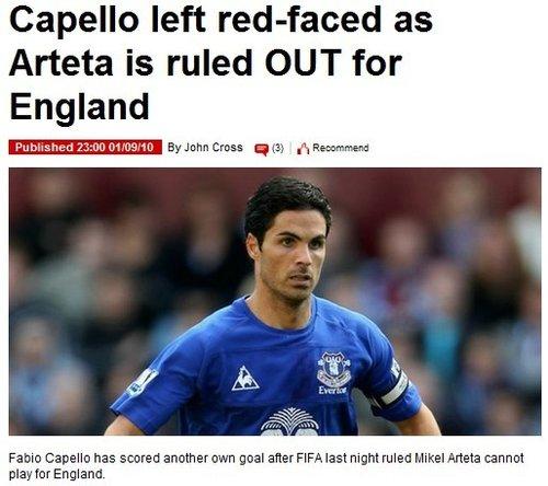 卡佩罗闹笑话! 原西班牙U19主力入选英格兰