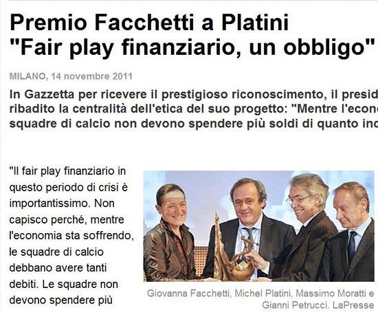 普拉蒂尼荣获法切蒂奖 称梅西成就将超过自己