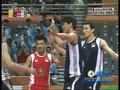 视频:男排中国队有效拦网追回1分19-22