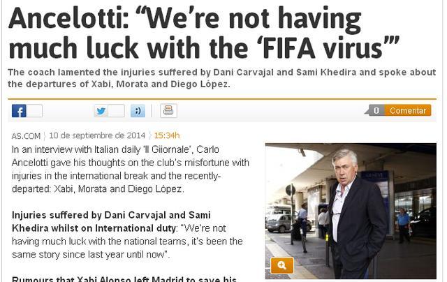 安帅:我认可迪马利亚转会 FIFA病毒又坑皇马