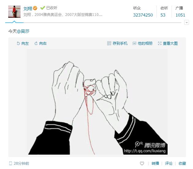 刘翔晒连心结宣布新恋情 女友为撑杆跳选手