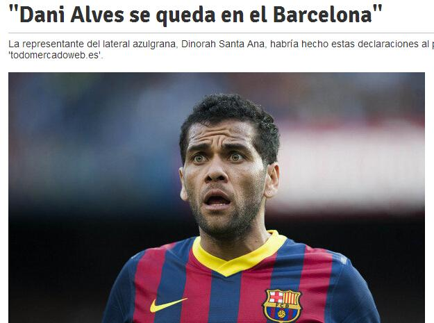 经纪人宣布阿尔维斯留队 巴萨或弃购夸德拉多
