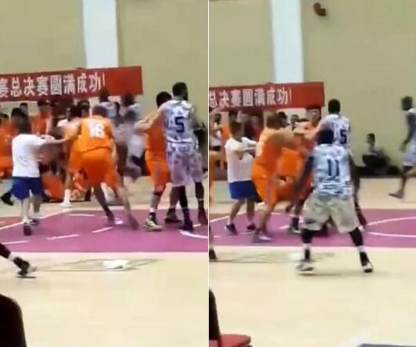 """山西业余篮球赛爆发群殴 场边观众高喊""""打"""""""