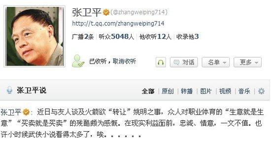 张卫平:感叹姚明交易 利益面前忠诚一文不值