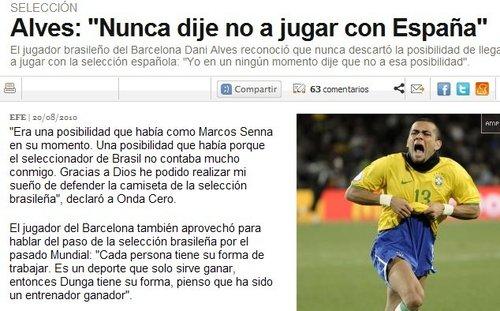 阿尔维斯自曝曾欲加入西班牙队 羡慕世界冠军