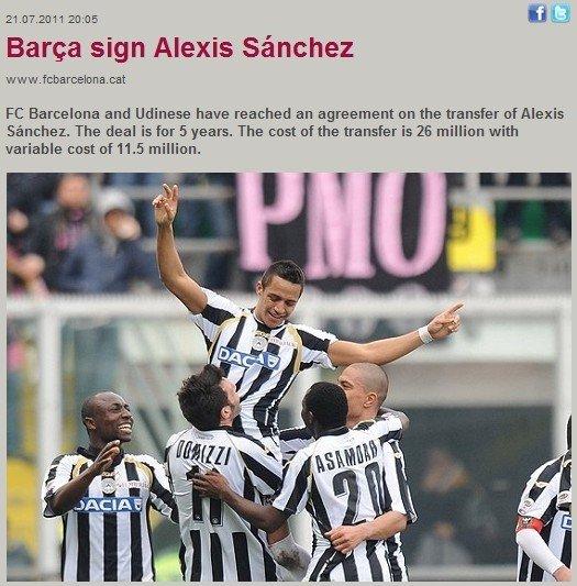 巴萨官方宣布签约桑切斯 5年长约锁定智利C罗