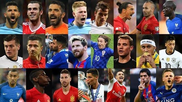 世界足球先生23人名单:C罗双冠大热PK梅西