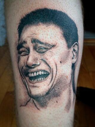 NBA球迷用明星头像纹全身 姚明招牌囧笑成热选