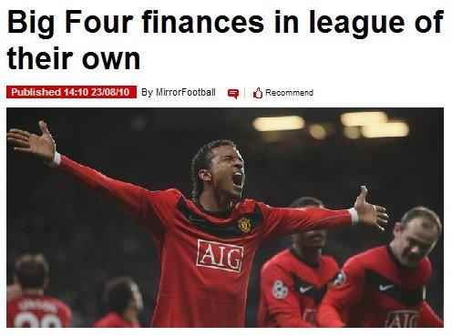 英超四强在欧战赛场上豪揽1亿多欧元