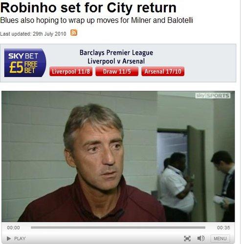 罗比尼奥将回归曼城 曼奇尼:是否留下看表现