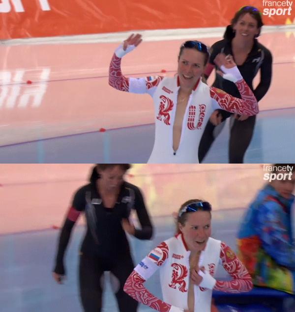速滑美女摘俄罗斯首枚奖牌 赛后激情庆祝解衣