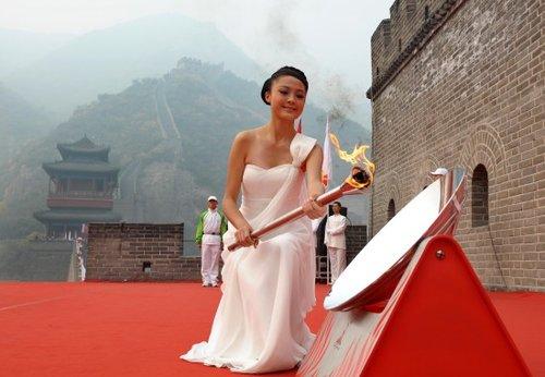 广州亚运会火种在居庸关长城成功采集