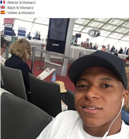 姆巴佩无视离队传言 机场发推宣布回摩纳哥