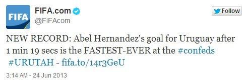 闪电战!79秒破门 乌拉圭造联合会杯最快进球