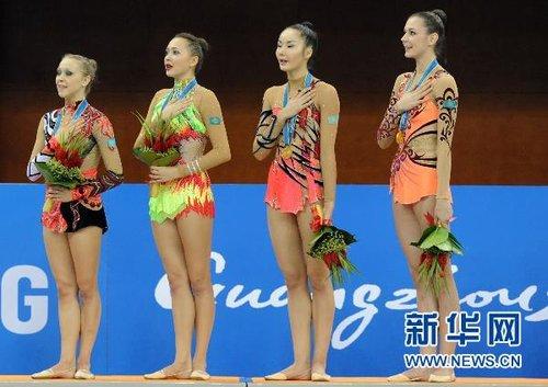 艺术体操团体决赛 哈萨克斯坦队夺冠(组图)