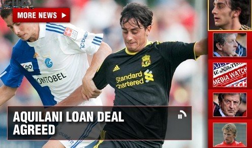利物浦宣布出租阿奎一年 罗马旧将周一赴尤文